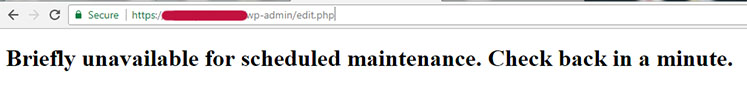 Briefly unavailable for scheduled maintenance in WordPress