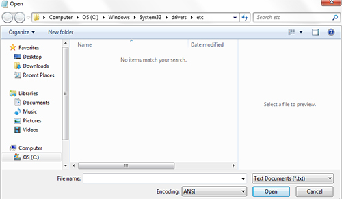 Opening Host file on Windows Computers