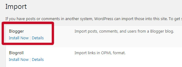 Importing blogger.com data into WordPress