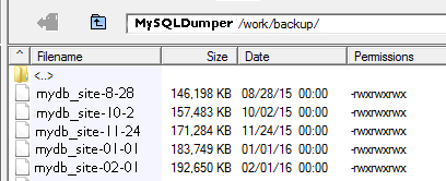 Database backups in MySQLDumper