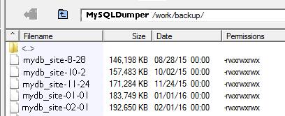 Database backups in MySQLDumper